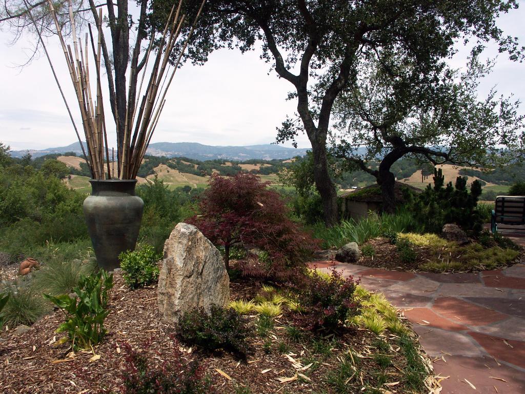 Japanese garden overlooking Alexander Valley in Healdsburg