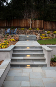 Backyard stairs to sitting area in Sonoma County.
