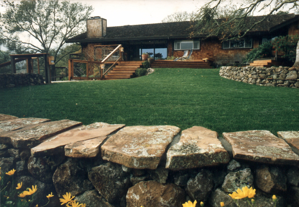 Natural stone used in backyard rockwall