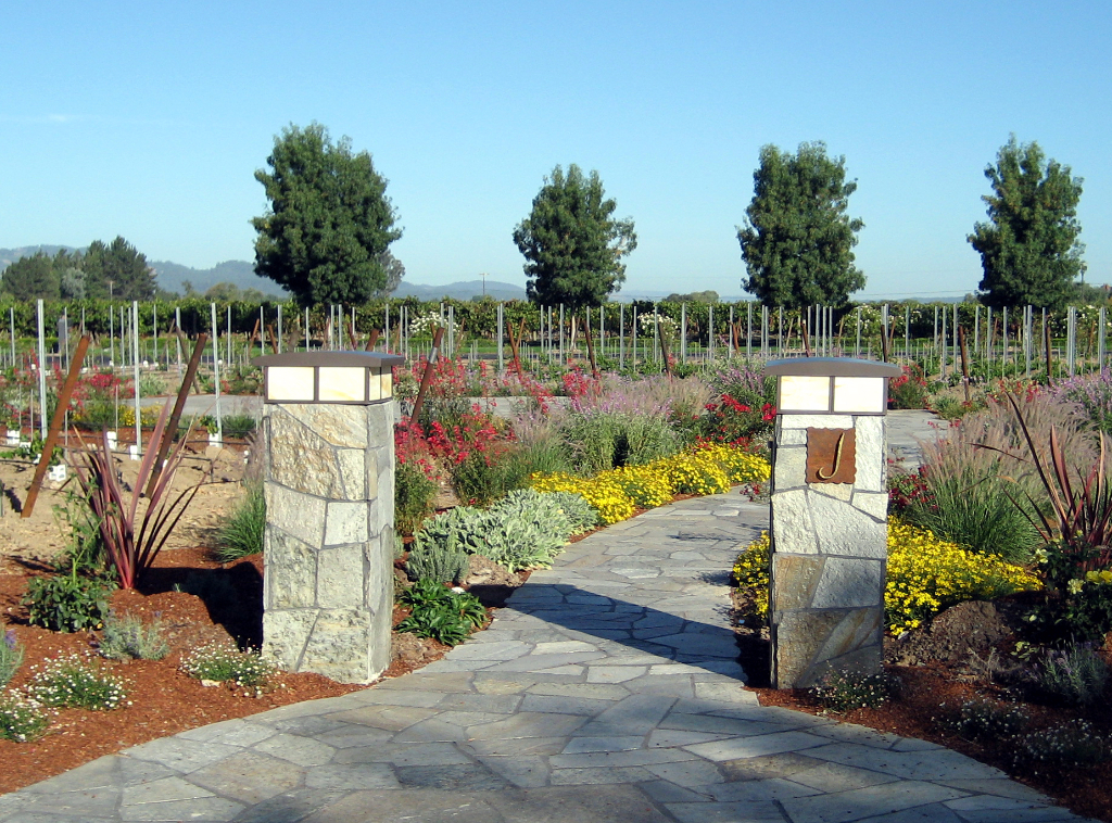 Entry to garden at winery using quartzite flagstone columns