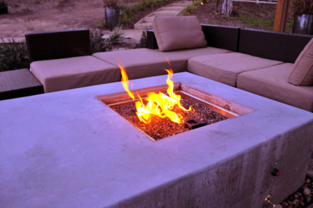 Trowel finish fire pit doubles as coffee table