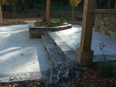 Steps for outdoor kitchen in Sonoma County backyard.