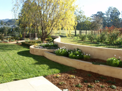 Curving stucco retaining walls create definition and flow to wine country backyard.