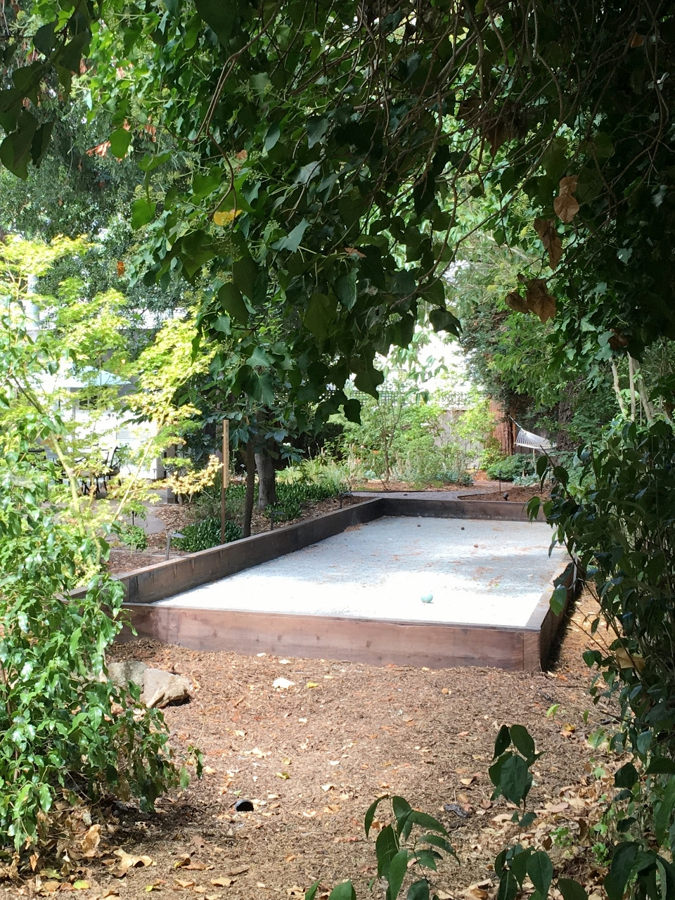 Kenwood Bocce ball court with 4 x 12 redwood bumpers